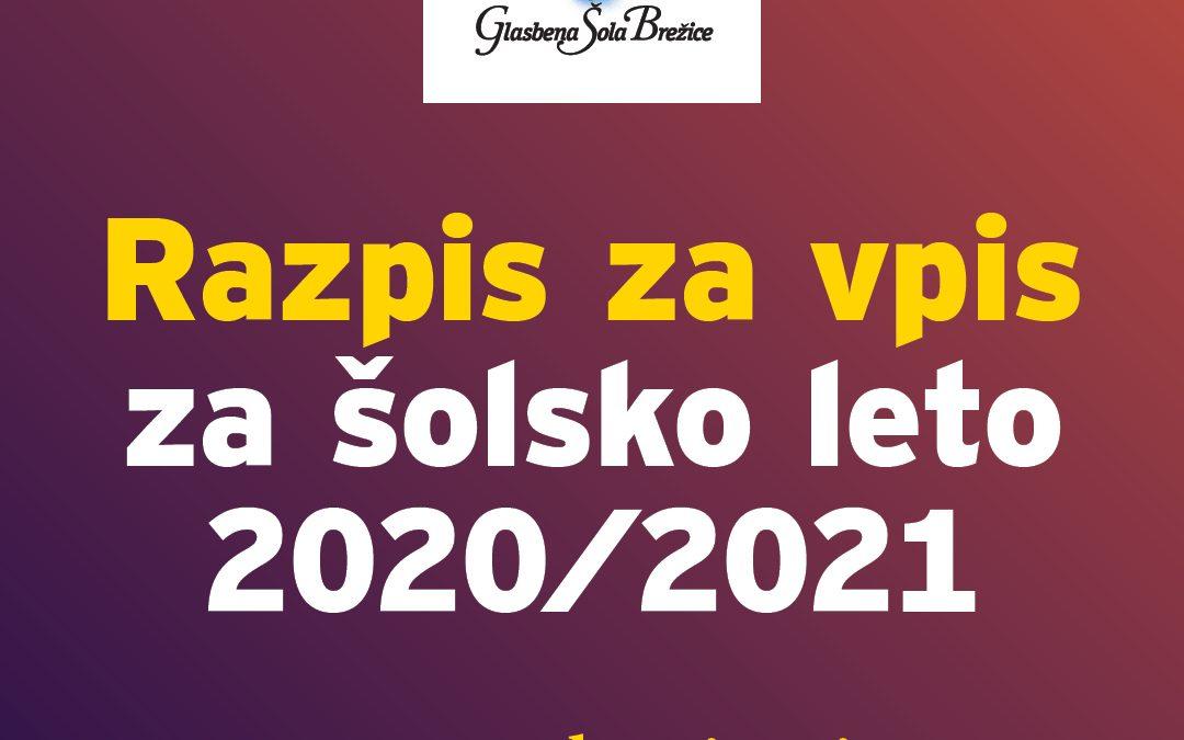 RAZPIS ZA VPIS V GLASBENO ŠOLO BREŽICE ZA ŠOLSKO LETO 2020/2021